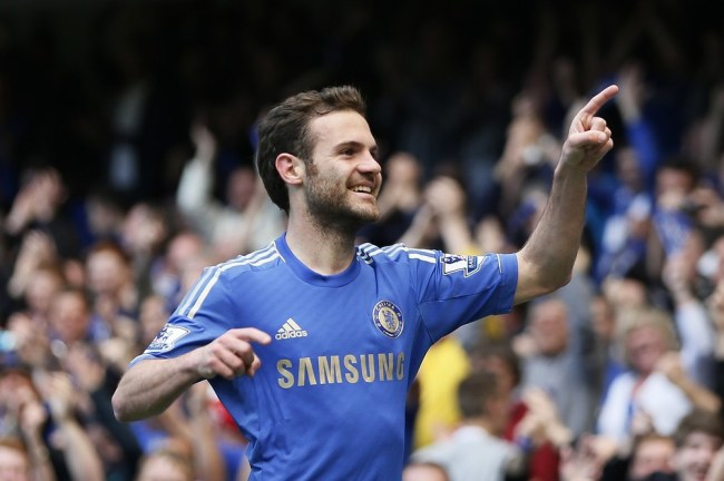Chelsea's Mata celebrates after scoring against Everton during their English Premier League soccer match at Stamford Bridge in London