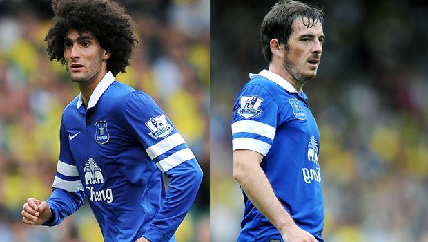 Everton duo Marouane Fellaini and Leighton Baines