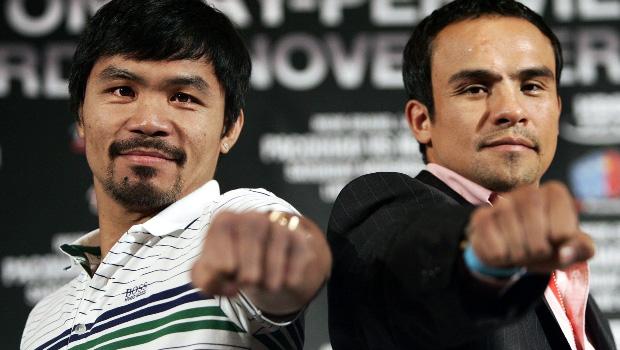 Juan Manuel Marquez and Manny Pacquiao boxing