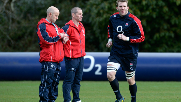 England coach Stuart Lancaster with team in training