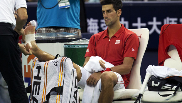 Novak Djokovic suffered an injury Shanghai Masters