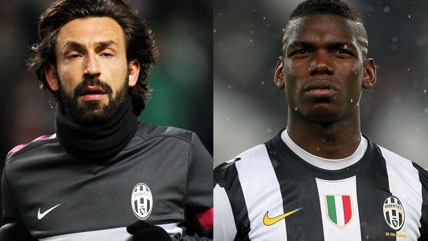 Andrea Pirlo and Paul Pogba Juventus
