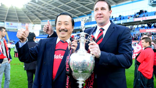 Cardiff City owner Vincent Tan and managerMalky Mackay