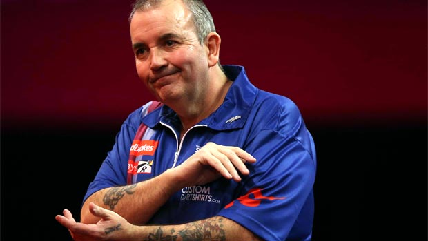 Phil Taylor knock down in darts