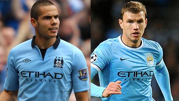 striker Edin Dzeko and midfielder Jack Rodwell man city