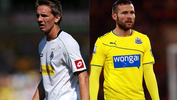 Borussia Monchengladbach striker Luuk de Jong and Yohan Cabaye Newcastle