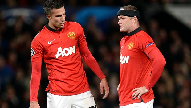 Wayne Rooney and Robin van Persie man utd