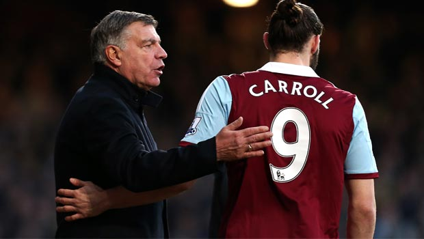West Ham boss Sam Allardyce and andy carroll