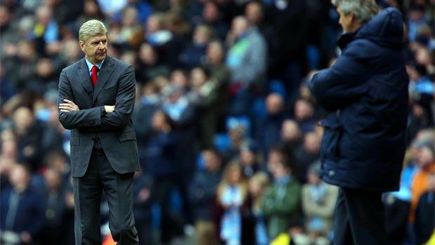 Arsenal boss Arsene Wenger and man city Boss Pelligrini