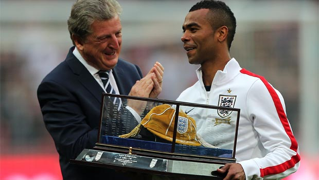 boss Roy Hodgson and Ashley Cole England