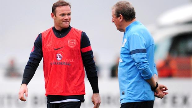 manager Roy Hodgson and Wayne Rooney England