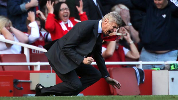 Arsene Wenger Arsenal manager reacts in frustration