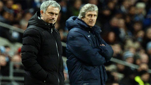 Chelsea boss Jose Mourinho and Manchester City manuel pellegrini