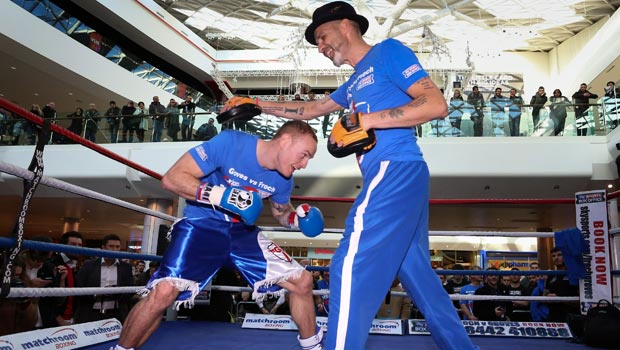 George Groves with his trainer Paddy Fitzpatrick