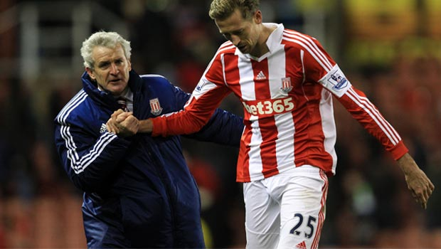 Mark Hughes and Peter Crouch Stoke City