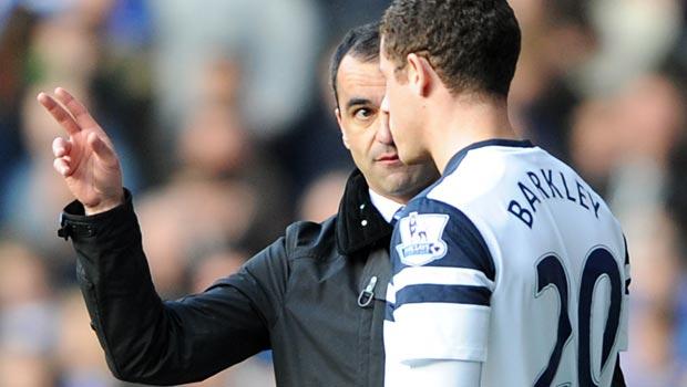 Roberto Martinez and Ross Barkley Everton