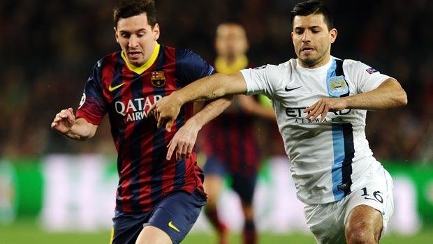 Sergio Aguero Manchester City and Barcelona Lionel Messi