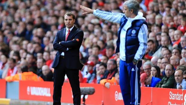 Brendan Rodgers Liverpool manager with Jose Mourinho Chelsea