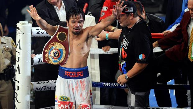 Manny Pacquiao defeating Tomothy Bradley Jr in Pacquaio v Bradley 2