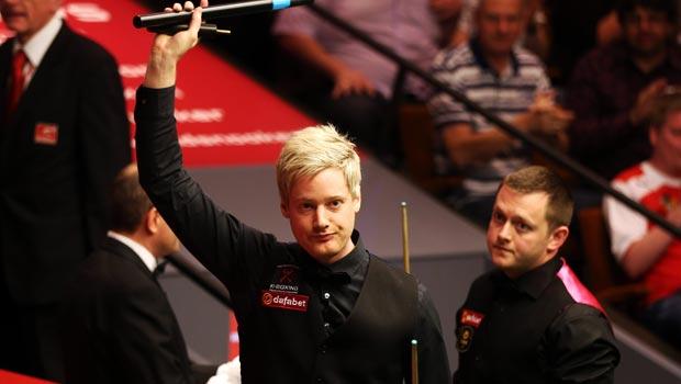 Neil Robertson winning second round match against Mark Allen Dafabet World Snooker Championships