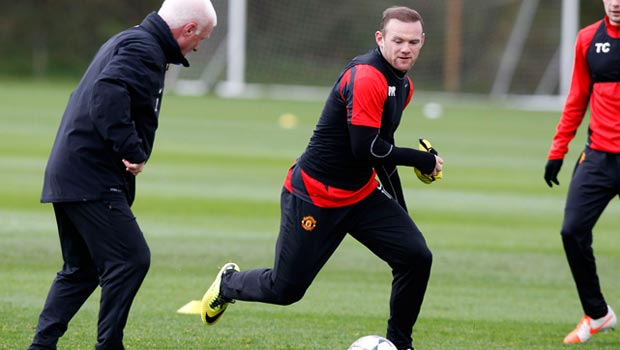 Wayne Rooney during a training session Manchester United