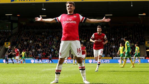 Aaron Ramsey arsenal scoring goal against Norwich city