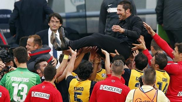 Diego Simeone Atletico Madrid celebrate La Liga title