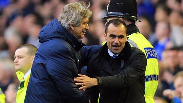 Manuel Pellegrini and Roberto Martinez Everton v Man City