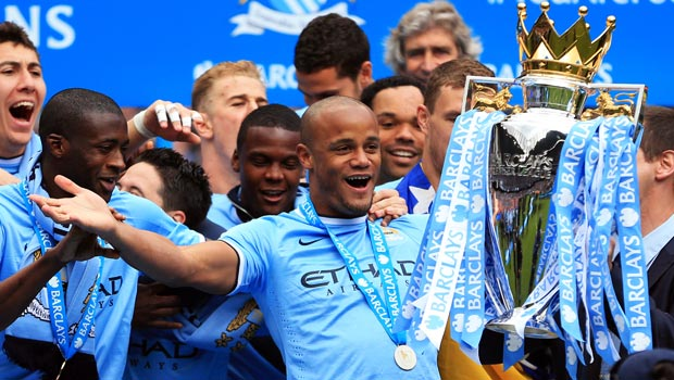 Vincent Kompany Manchester City captain lifts the premier league trophy