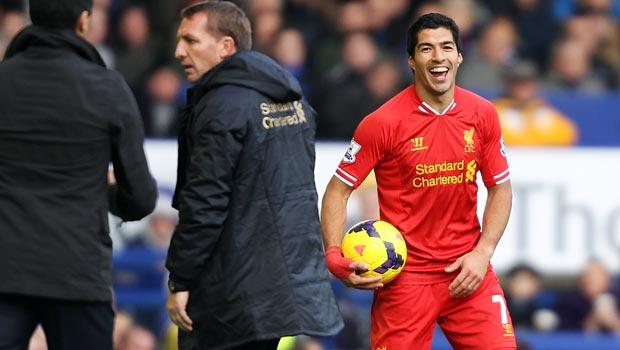 liverpool boss Brendan Rodgers and striker luis suarez