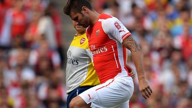 Arsenal striker Olivier Giroud ankle injury