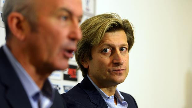 Crystal Palace Chairman Steve Parish with Tony Pulis