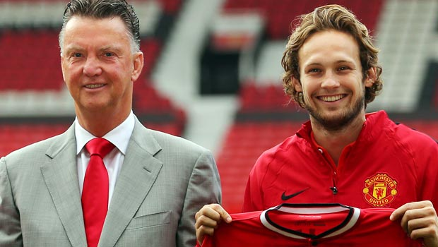 Daley Blind and Louis Van Gaal Manchester United