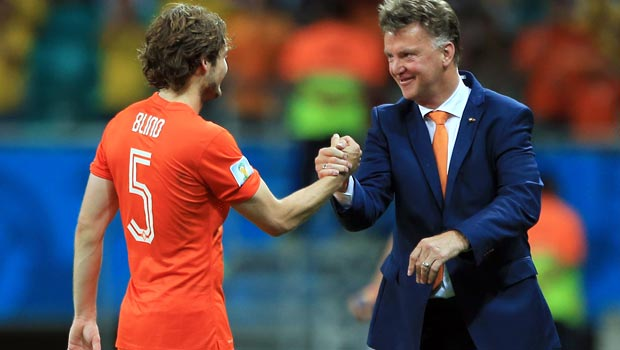 Daley Blind and manager Louis van Gaal