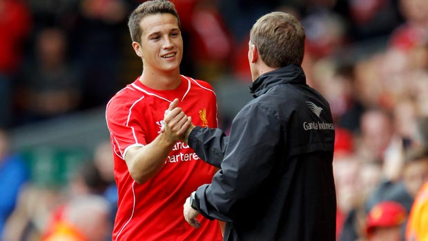 Javier Manquillo and Brendan Rodgers Liverpool