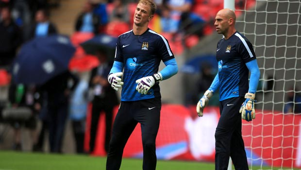 Joe Hart and Willy Caballero Manchester City goalkeeper