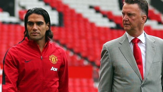 Radamel Falcao and Louis van Gaal Manchester United