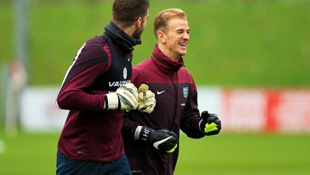 England goalkeeper Joe Hart and Fraser Forster