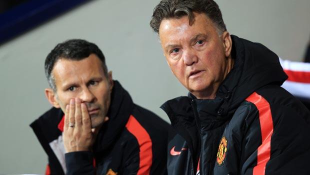 Man Utd assistant manager Ryan Giggs and Louis van Gaal