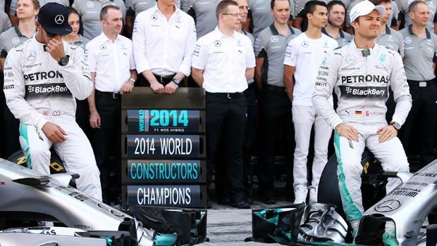 Mercedes driver Nico Rosberg and Lewis Hamilton