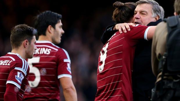 West Ham United manager Sam Allardyce and Andy Carroll