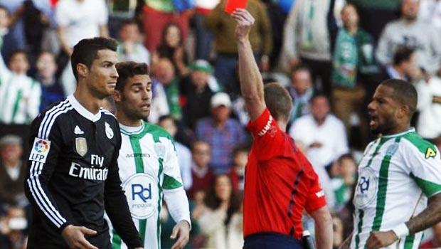Cristiano Ronaldo Red Card Real Madrid v Cordoba La Liga