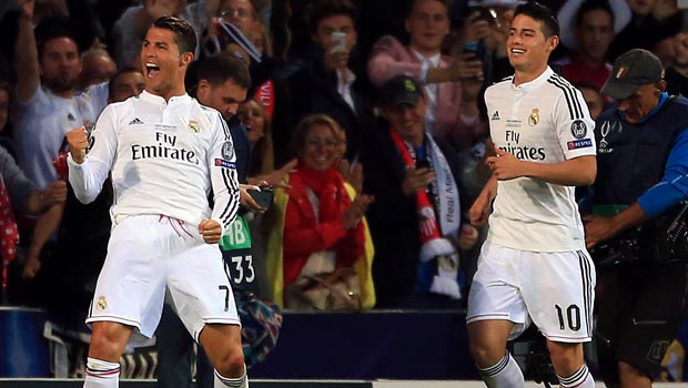 Cristiano Ronaldo and James Rodriguez Real Madrid