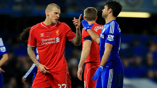 Diego Costa and Martin Skrtel Chelsea v Liverpool Capital One Cup