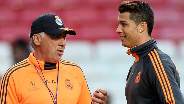 Real Madrid boss Carlo Ancelotti and Cristiano Ronaldo