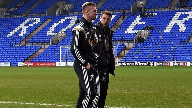 Swansea City Tom Carroll and Adam King