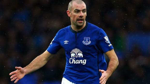 Everton midfielder Darren Gibson