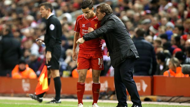 Liverpool boss Brendan Rodgers and Philippe Coutinho