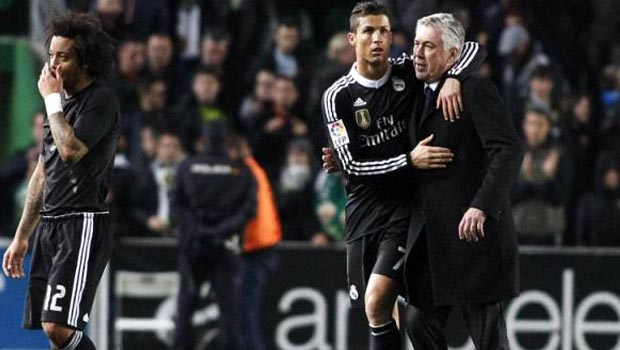 Real Madrid Carlo Ancelotti and Cristiano Ronaldo