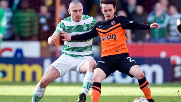 Celtic Scott Brown and Dundee United Aiden Connelly